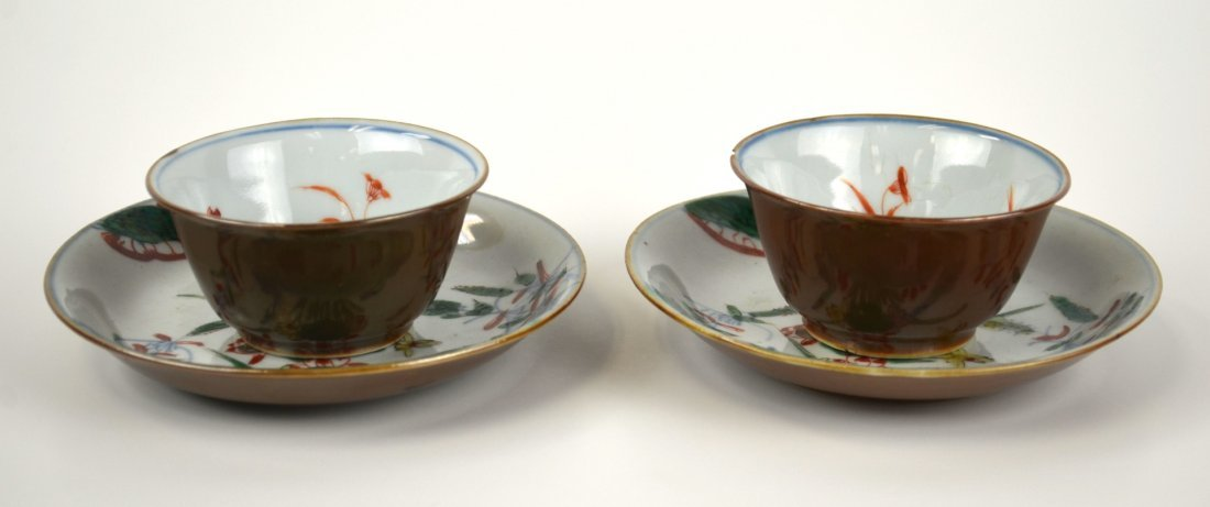 Pr Chinese Famille Rose Cups & Saucers
