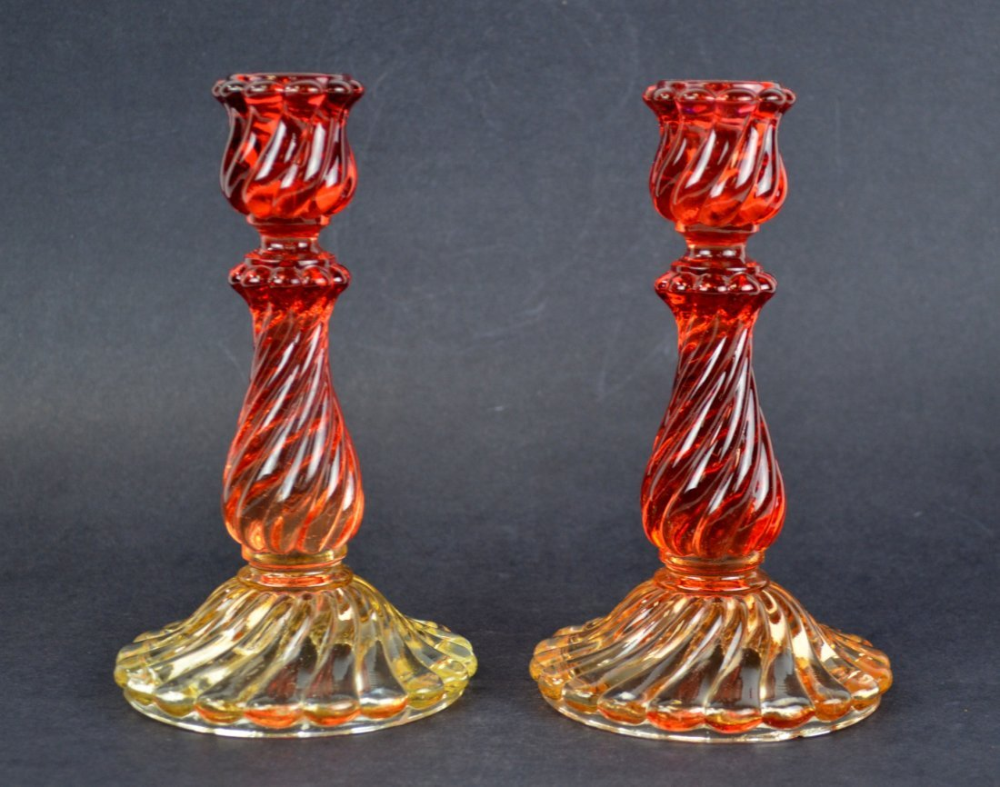 Pr Baccarat Glass Candle Holders