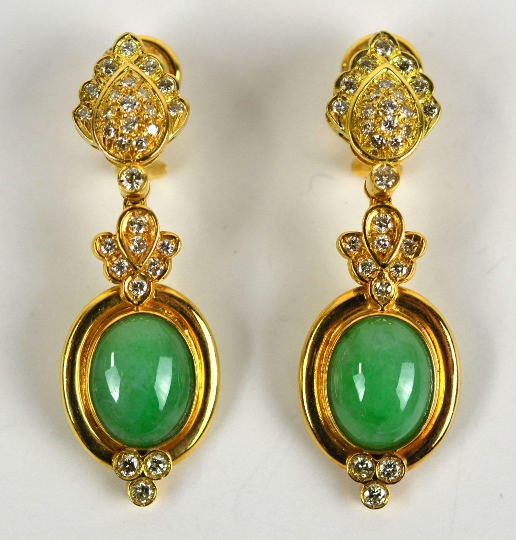 Pr 18K Gold Earrings w. Jadeite & Diamonds