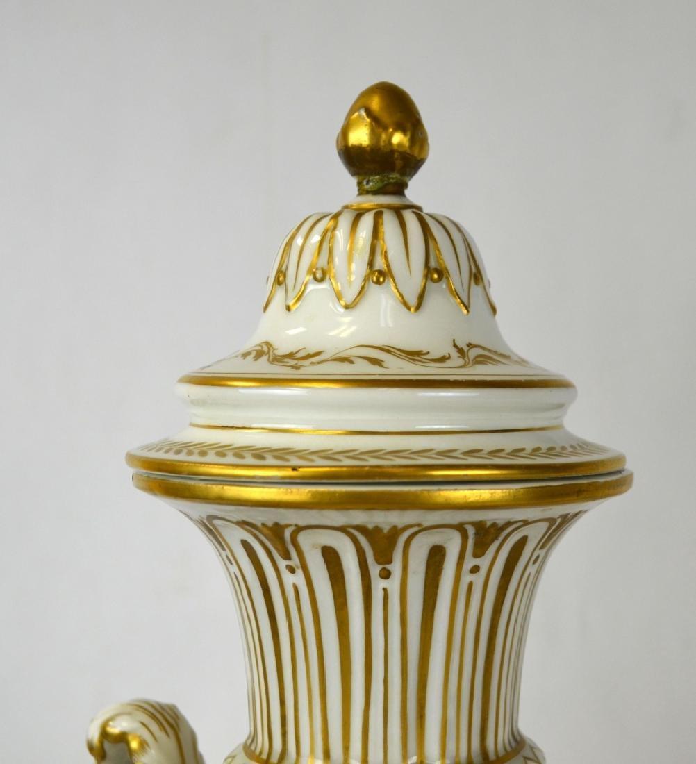 Pr Sevres Porcelain Urns Vases with Covers - 3