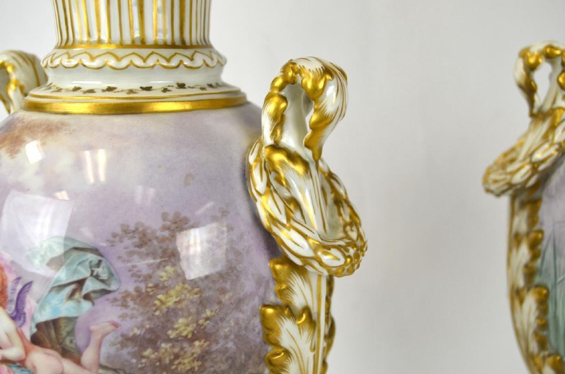 Pr Sevres Porcelain Urns Vases with Covers - 4