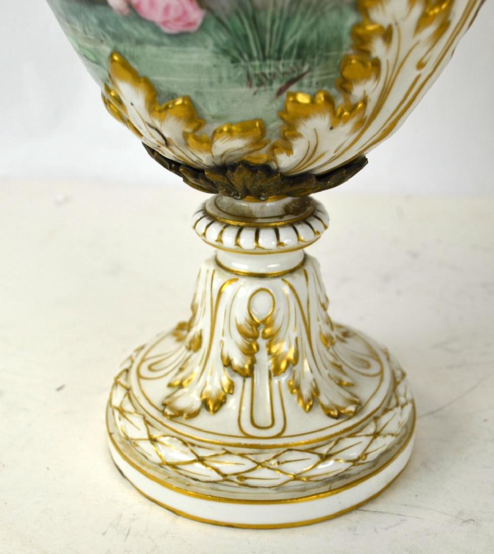 Pr Sevres Porcelain Urns Vases with Covers - 5