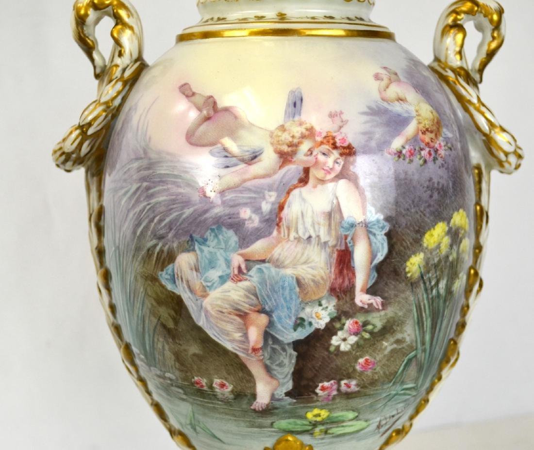 Pr Sevres Porcelain Urns Vases with Covers - 6