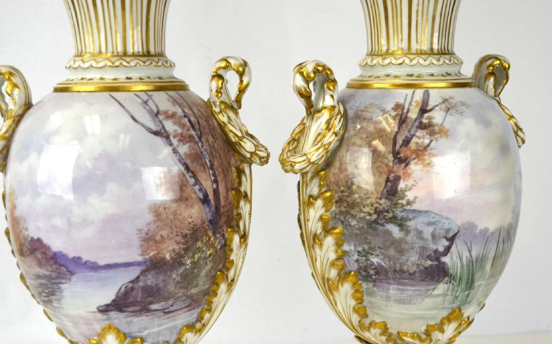 Pr Sevres Porcelain Urns Vases with Covers - 7