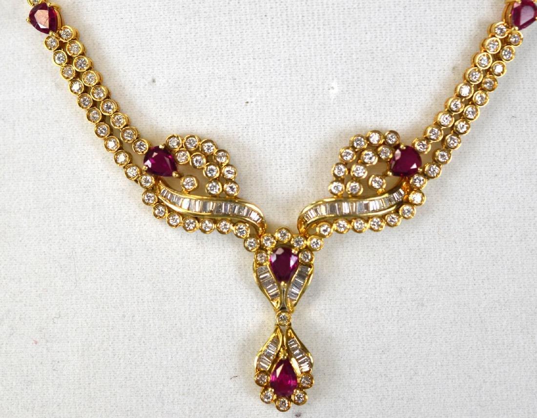 Tiffany & Co.18K Ruby w Diamond Necklace - 2