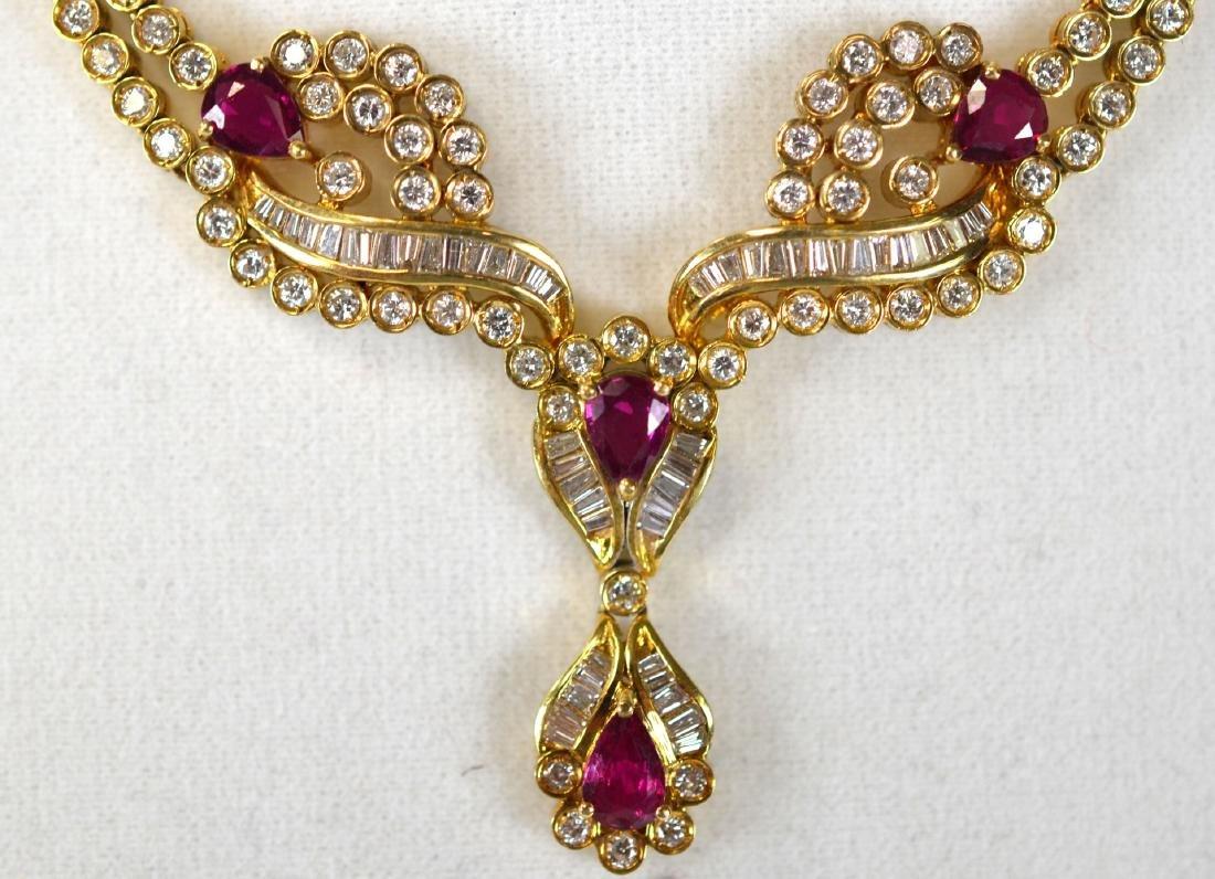 Tiffany & Co.18K Ruby w Diamond Necklace - 3