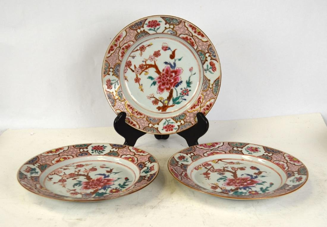 Three Chinese Rose Medallion Export Plates