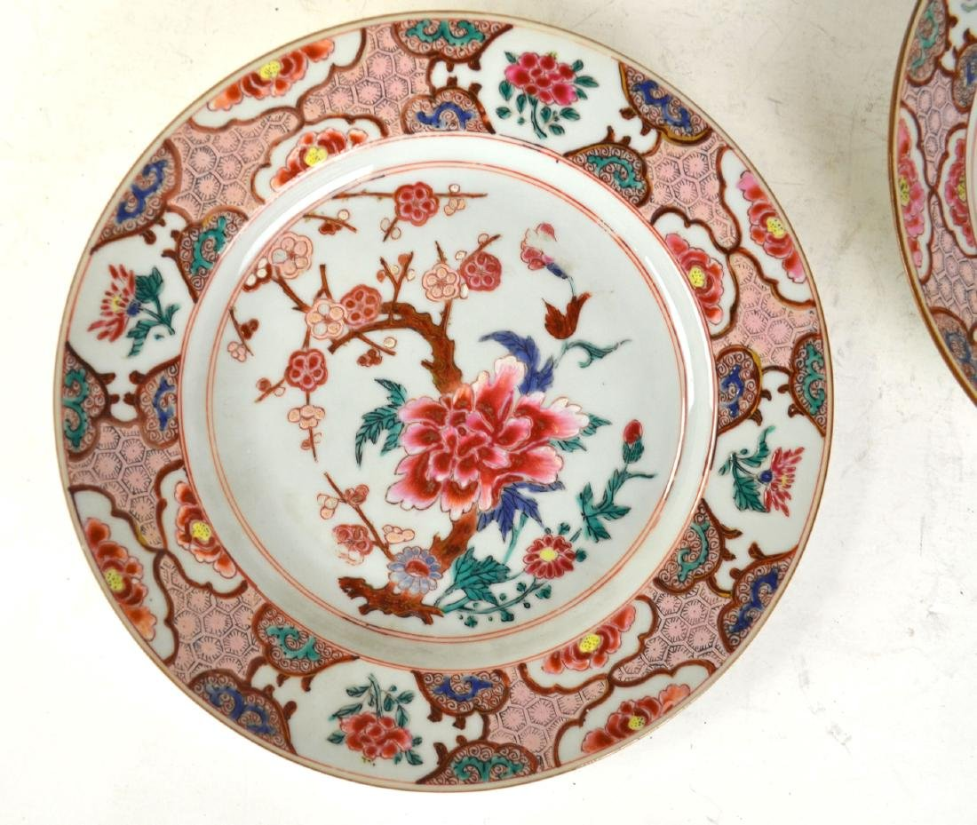 Three Chinese Rose Medallion Export Plates - 2