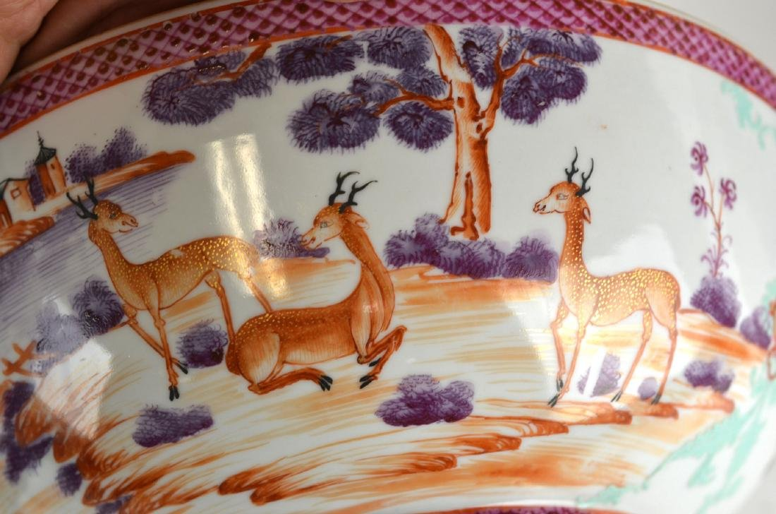 Chinese Rose Medallion Bowl with Deer - 5