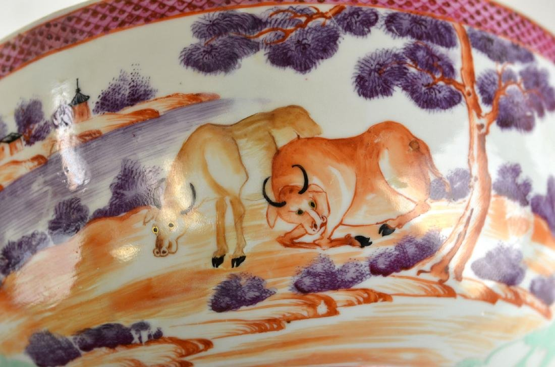 Chinese Rose Medallion Bowl with Deer - 7