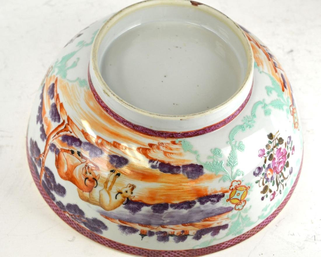 Chinese Rose Medallion Bowl with Deer - 8