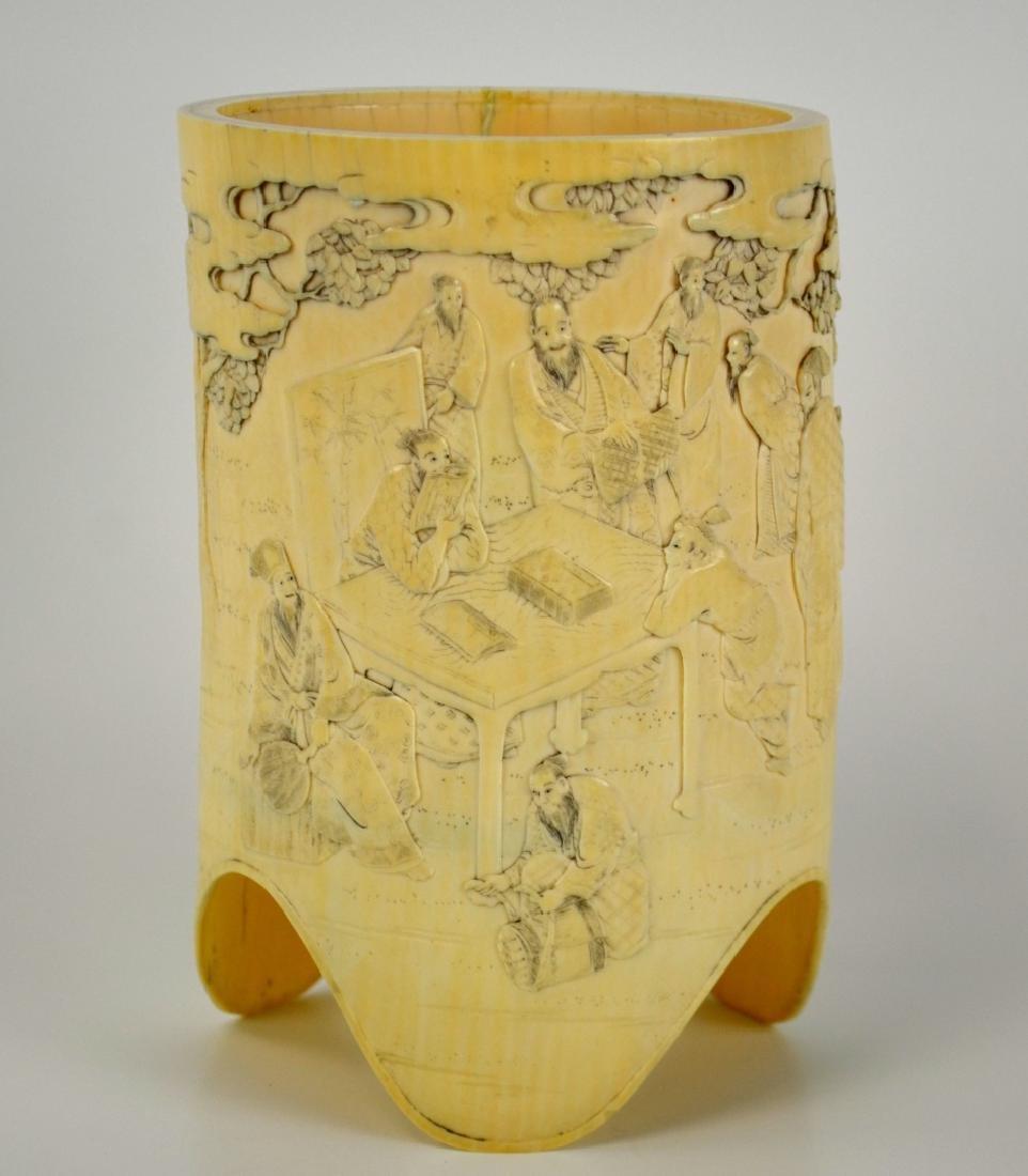 7Japanese Carved Bone Brush Pot - 2