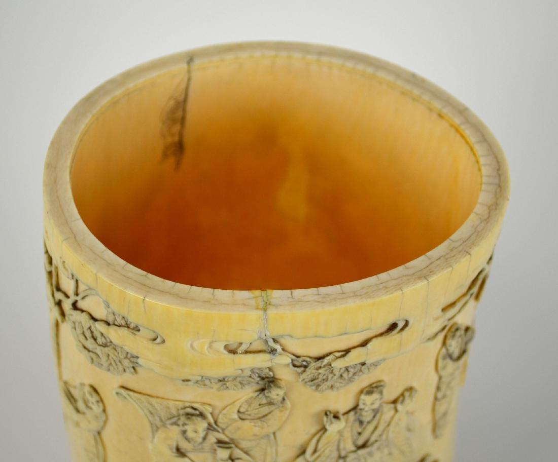 7Japanese Carved Bone Brush Pot - 3