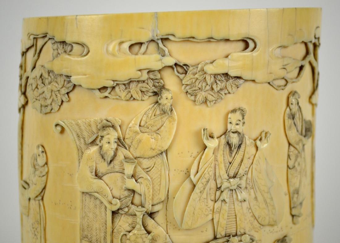 7Japanese Carved Bone Brush Pot - 4