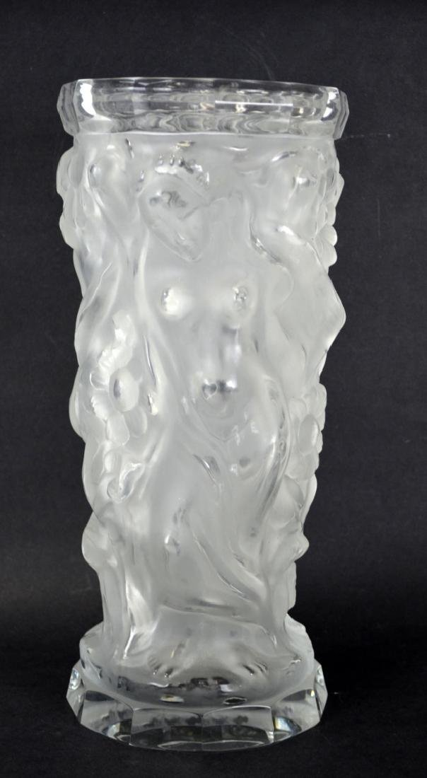 Lalique Tall Glass Vase with Nude Women