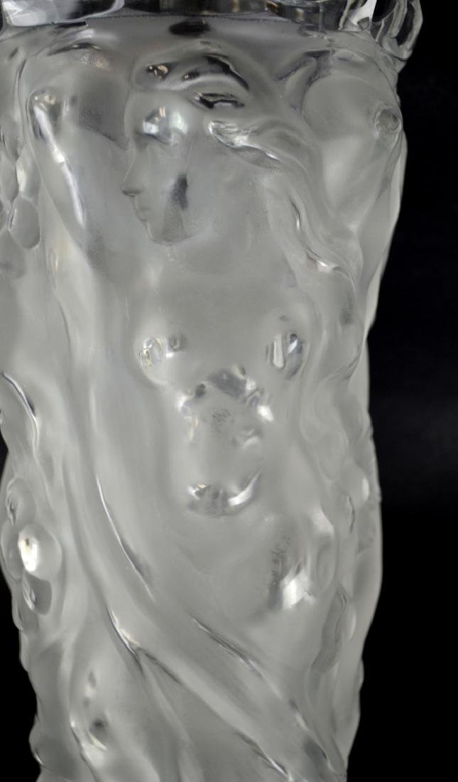 Lalique Tall Glass Vase with Nude Women - 3