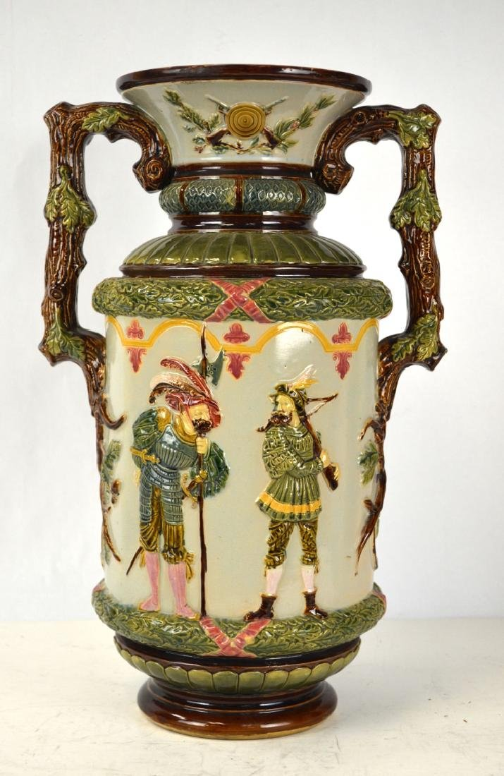 Large Majolica Vase with Two Handles
