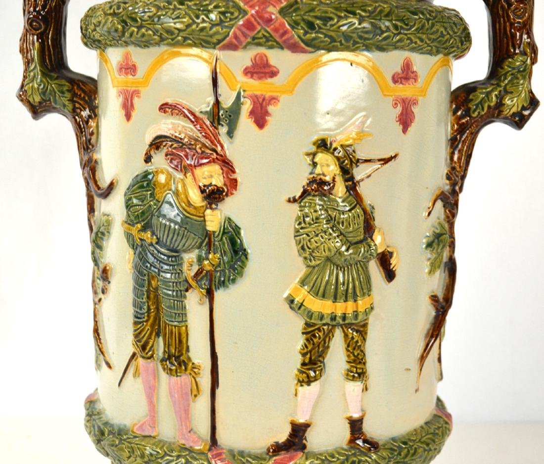 Large Majolica Vase with Two Handles - 2