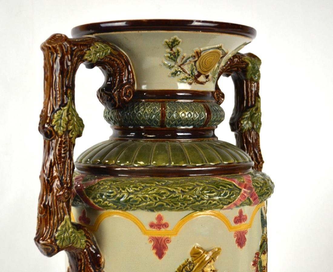 Large Majolica Vase with Two Handles - 6