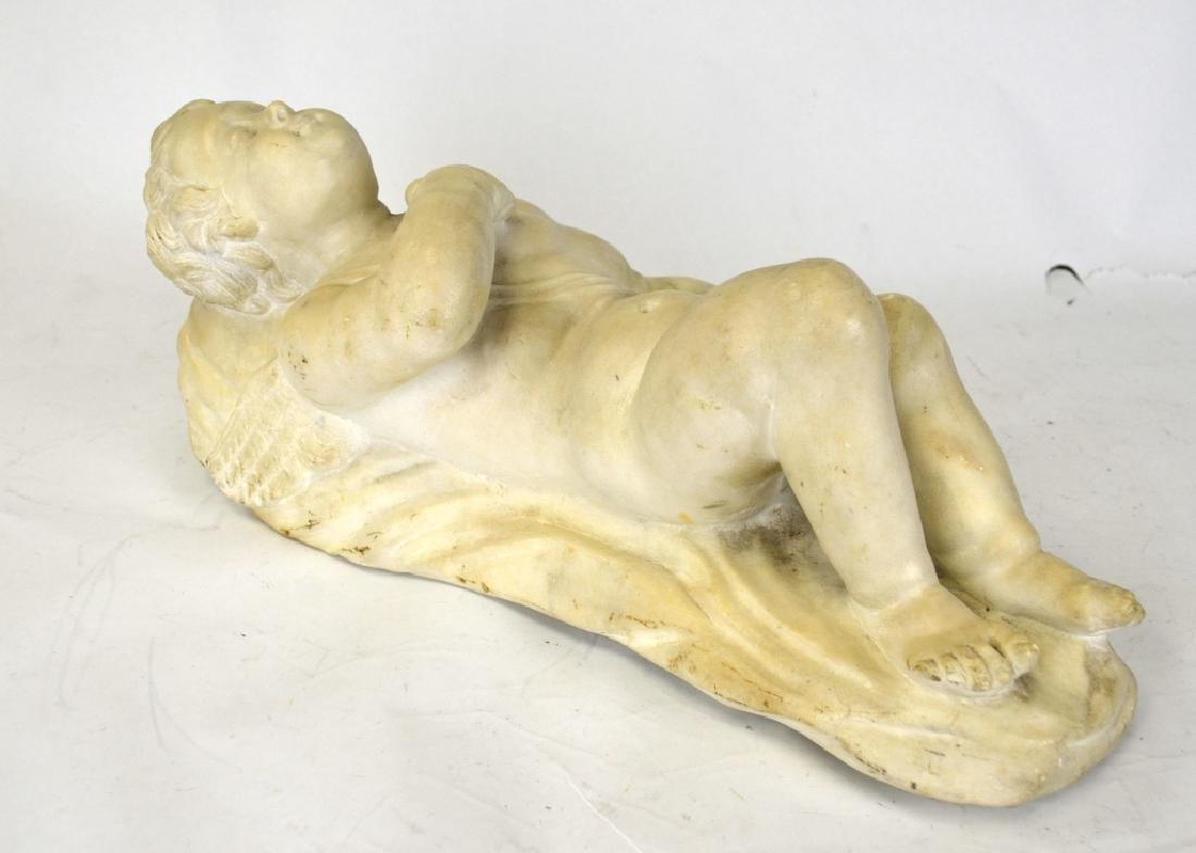 French Cupid White Marble Sculpture - 3
