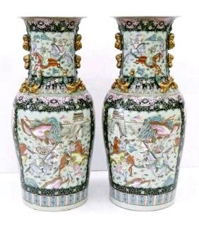 Large Pr Chinese Famille Rose Vases