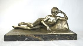 Art Deco Signed Silver Bronze nude w. Marble Base