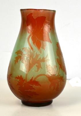 Galle Green/Brown Fire Polish Art Glass Vase