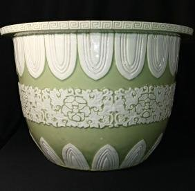 Chinese Carved Celadon Glazed  Porcelain Planter