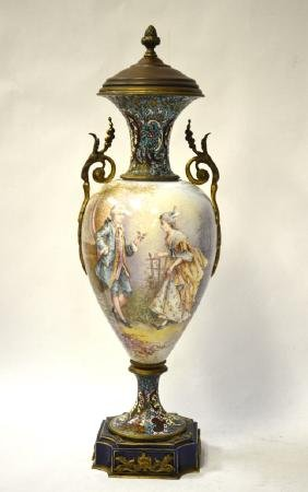 Sevres Enamel/porcelain Lamp Base w Handles