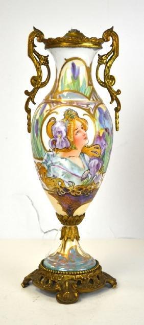Sevres Bronze Mounted Porcelain Lamp Base