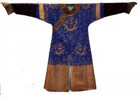 Chinese Blue Summer Silk Emboridered Dragon Robe