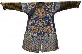 Chinese Blue Ground Embroidered(Kesi) Dragon Robe