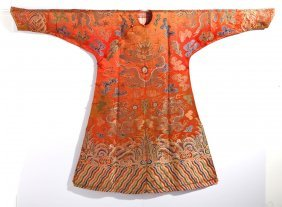 Chinese Red Silk Embroidered Dragon Robe