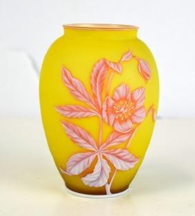 Webb English Yellow & Pink Glass Vase
