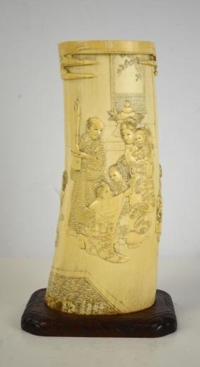 Japanese Bone Carved Brush Pot w. Wood Stand