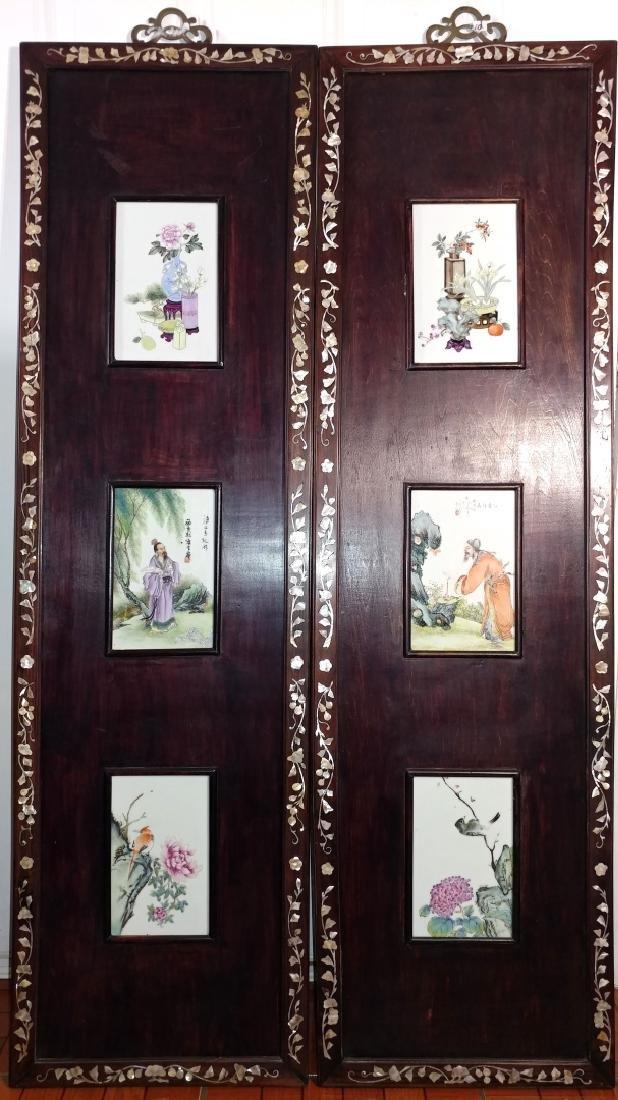 Pr Chinese Wood Framed Porcelain Plaque Panels