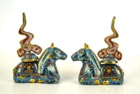 Pr Chinese Cloisonne Horse Candle Holders