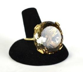 14K Gold Ring with Smokey Quartz