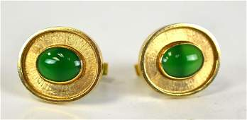 Pr 14K Gold Cufflinks with Green Jade