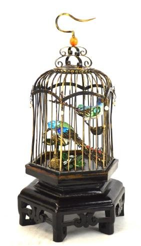 Chinese Silver Enamel Bird Cage