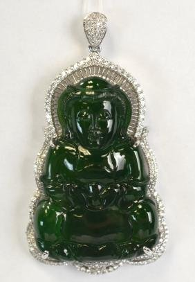 Chinese Carved Jadeite,18K Gold, & Diamond Pendant