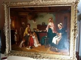 19th Century Oil Painting On Canvas Signed