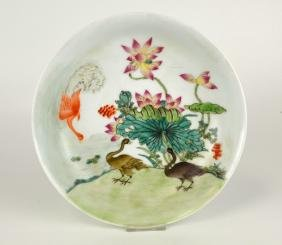 Chinese Famille Rose Plate w Ducks