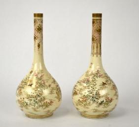 Pair of Japanese Satsuma Long Neck Vases