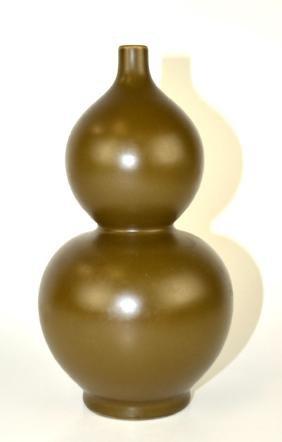 Chinese Tea Dust Double Gourd Vase