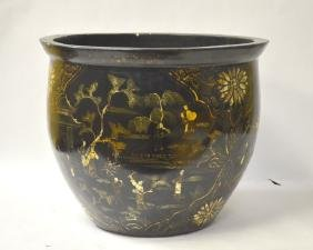 Large Chinese Lacquered Fish Bowl