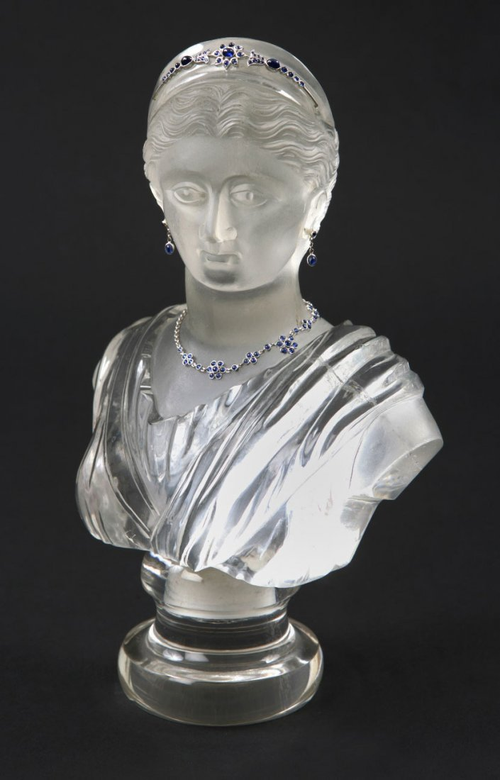 10: A Fine Rock Crystal and jewel embellished bust of a