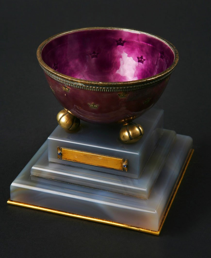 12: A late 19th century Swedish silver and enamel bowl