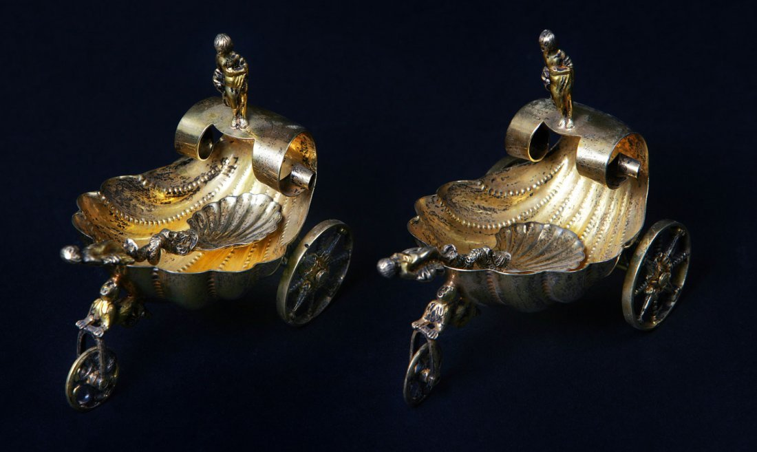 24: A Pair of Continental Silver Gilt salt cellars and