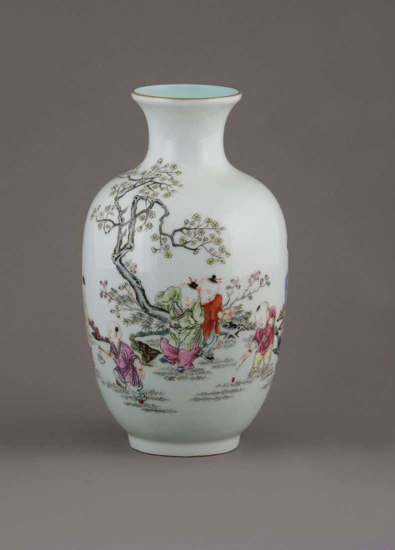 A Chinese Vase. Decorated with figures in a landscape.